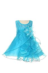 Cinderella Couture Baby Girls\' Cascading Organza Dress Turq Med 12M (B1101)