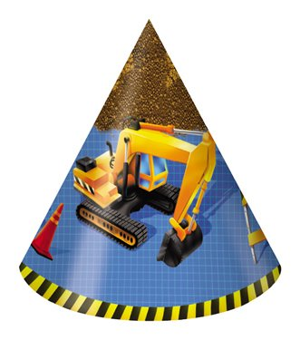 Creative Converting Under Construction Birthday Party Hats, Child Size, 8 Count - 1