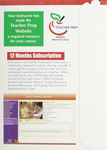 Teacher Preparation Classroom (Supersite), 12 Month Access Code Card