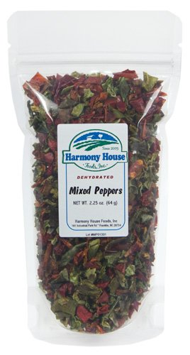 Harmony House Foods Dried Peppers, Red & Green Bell, Diced (2.25 Oz, Zip Pouch) For Cooking, Camping, And More