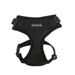 Authentic Puppia RiteFit Harness with Adjustable Neck, Black, Medium