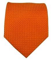 100% Silk Woven Solid Textured Burnt Orange Tie