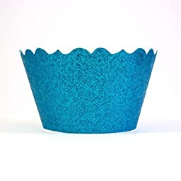 Bella Cupcake Couture 633131980226 Glitter Cupcake Wrappers, Ocean Blue, Set of 12