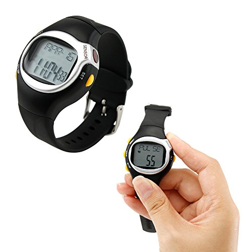 GEARONIC TM Black LED Pulse Heart Rate Heartbeat Monitor Calories Counter Fitness Watch Brand