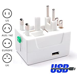 WOVTE® 1 USB Charging Port (1A) Surge Protector All in One Universal Worldwide Travel Wall Charger AC Power AU UK US EU Plug Adapter - 2 Pack