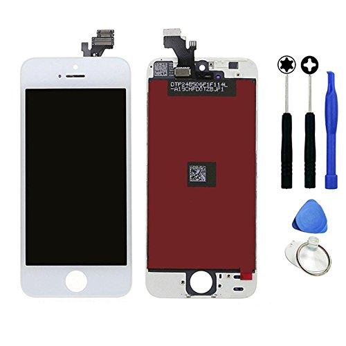 Vitre tactile + écran LCD sur chassis iPhone 5 blanc + outils