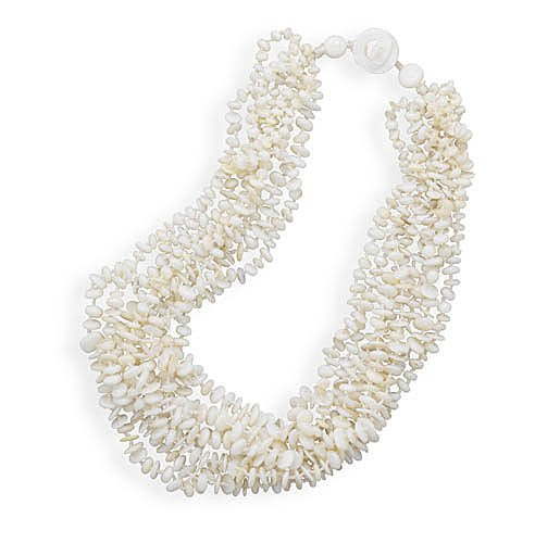 Eight Strand Knotted Shell Toggle Necklace