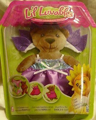 Lil Luvables Fluffy Factory Purple Flower Bear Wear - 1