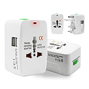 Universal Worldwide Travel Adapter Plug, Costech Wall Charger Adapter AC Power AU UK US EU Plug Adaptor 2 USB Charging Port surge Protector All in One(White)