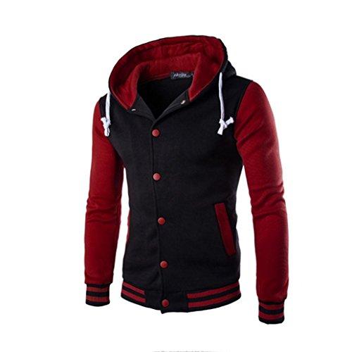 Koly_Gli uomini del rivestimento del cappotto caldo Outwear maglione invernale Slim con cappuccio (M, Rosso)