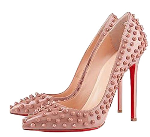Littleboutique Womens Studded Pointed Toe Stiletto Pumps Celebrity Party Pumps High Heel Evening Shoes Nude 8