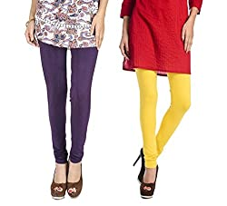 Rupa Softline Purple and Yellow Cotton Leggings Combo (Pack Of 2)