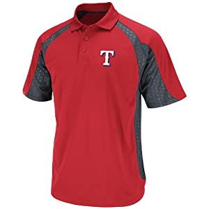 MLB Texas Rangers Mens Season Pass Polo Shirt, Red Pro Granite, Small by Majestic