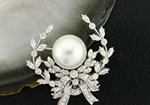 1580 - South Sea Pearl Brooch Pin - Black