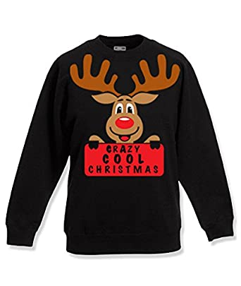 UNISEX CHRISTMAS PRINTED SWEATSHIRT - CRAZY COOL CHRISTMAS REINDEER S Black*