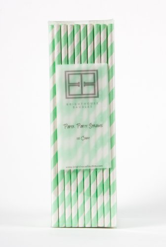 Paper Party Straws – Box of 100 – Choose from 11 Color Options – Bright and Beautiful Striped Straws. Biodegradable and Food Safe! Variety of colors available. Perfect for parties, barbeques, wedding receptions, and any special event. Last for hours in your drink. Approximately 8″. (Mint)