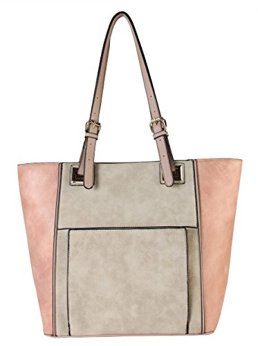 diophy-high-quanlity-pu-leather-front-pocket-two-tone-large-tote-womens-purse-handbag-cl-3504-beige