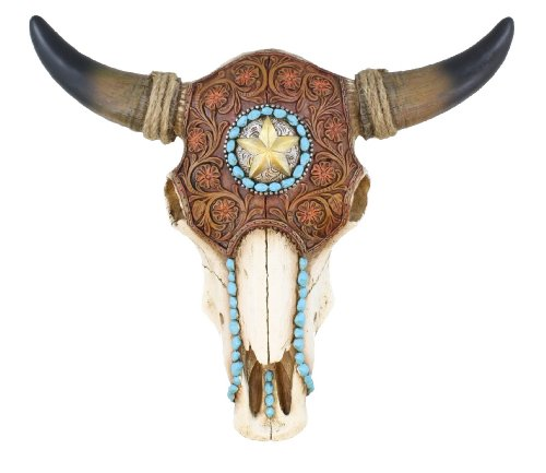 Realistic Resin Steer Bull Cow Skull w/ Faux Tooled Leather, Turquoise and Western Concho Star Detail