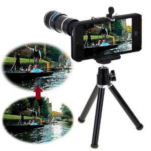 Neewer 12X Optical Zoom Telescope Camera Lens + Tripod + Case For Apple Iphone 5 5S (Black)