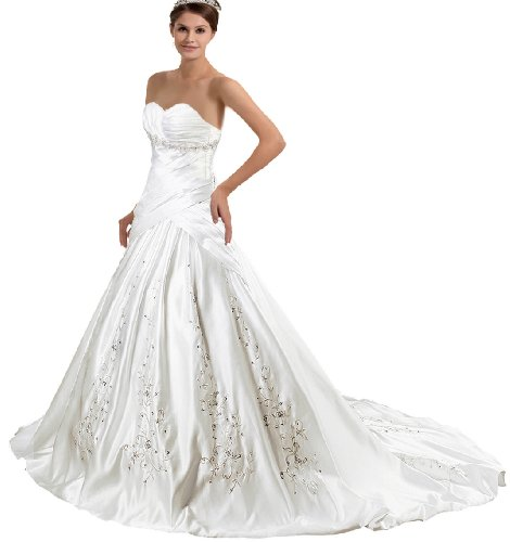 Faironly F-j5 Strapless Satin Bride Wedding Dress, White, Ivory