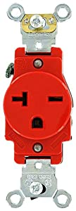 Leviton 5461-R 20 Amp, 250 Volt, Industrial Heavy Duty Grade, Single Receptacle, Straight Blade, Self Grounding, Red