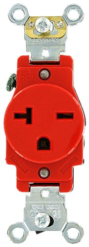 Leviton 5461-R 20 Amp, 250 Volt, Industrial Heavy Duty Grade, Single Receptacle, Straight Blade, Self Grounding, Red (Electric Dirt Tamper compare prices)