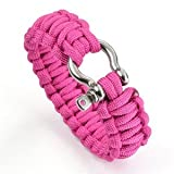 "Cosmos ® 8"" Pink Color with Stainless Steel Bow Shackle Survival Bracelet Strap + Free Cosmos Cable Tie"