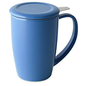 FORLIFE Curve Tall Tea Mug with Infuser and Lid, 15-Ounce, Blue