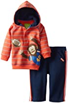 Watch Me Grow! by Sesame Street Baby-boys Newborn 2 Piece Monkey Cathcing Football Shirthood and Pant, Orange, 3-6 Months