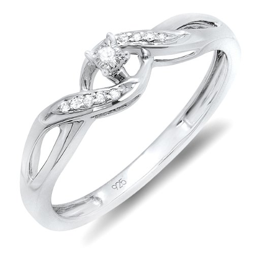 0.05 Carat (ctw) Sterling Silver Round Diamond Crossover Swirl Ladies Bridal Promise Engagement Ring