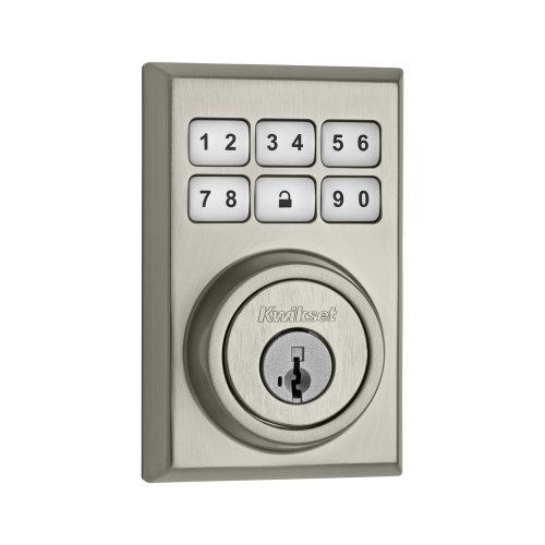 Kwikset 909 Contemporary Smartcode Electronic Deadbolt Featuring Smartkey® In Satin Nickel