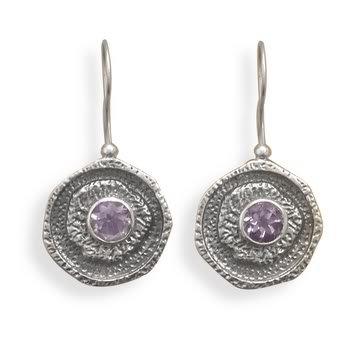 Oxidized Amethyst Wire Earrings