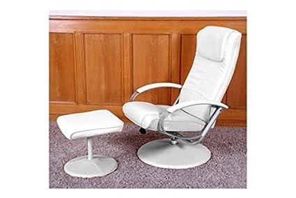 weiss Sessel mit Hocker weiß Kunstleder Relaxsessel Loungesessel Funktion