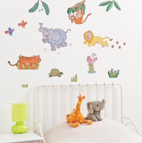 FunToSee Jungle Safari Boys Nursery and Bedroom Wall Decals, Jungle