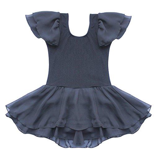 TIAOBU US Kids Gymnastics Ballet Tutu Dance Costume Dress 5-6 Black (Ballet Dancing Costume)
