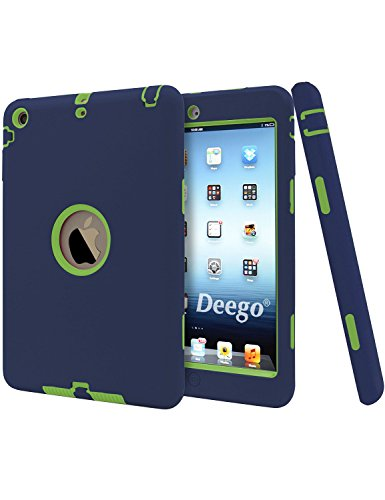 Vogue Shop Cover for iPad Mini Case,3in1 Hybrid Hard PC Soft Silicone High Impact Combo Defender for iPad Mini 1 2 3 Cases(Navy+Yellow) (Ipad Mini Combo compare prices)