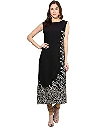 Kiteshop Women's Black Foil Printed Kurtis (Black_KS1969-6901)