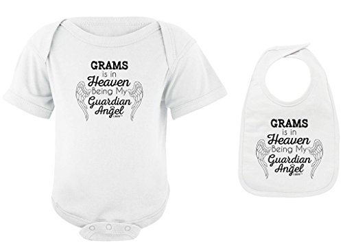 Baby Gifts For All Grams in Heaven Being my Guardian Angel Bodysuit Bib Bundle