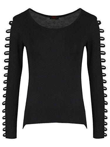 Spiral Gothic Elegance maglia con manica lunga a cinturini in nero