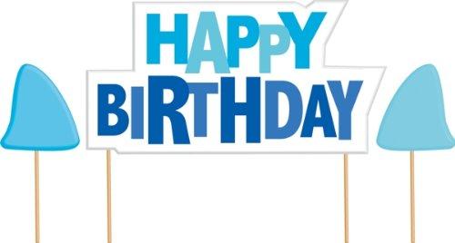 Creative Converting Shark Splash Happy Birthday Cake Banner Kit (Shark Cake Topper compare prices)