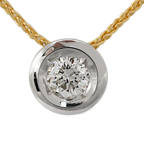 Bella Donna Damen Halskette Diamant-Anhnger mit Kette  585/000 Gelb- Weiss-Gold 1 Brillant 0,12 ct. Weiss Piqu1 45cm 904149