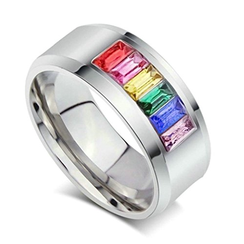 aooaz schmuck unisex ring bunte regenbogen kristall halbseidene edelstahl ring gr e 54 17 2. Black Bedroom Furniture Sets. Home Design Ideas