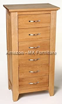 New Solid Oak Tall Chest of Six Drawers / Tall Boy