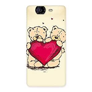 Luxirious Cute Heart Twin Teddy Back Case Cover for Canvas Knight A350