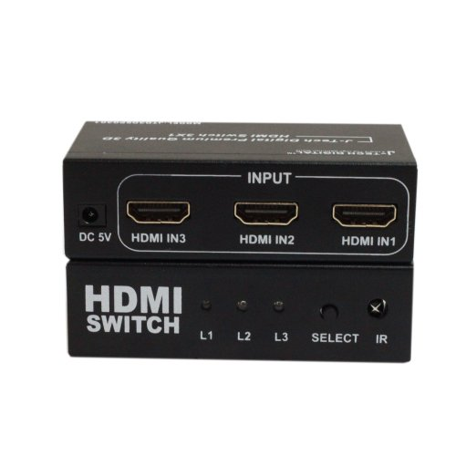 J-Tech Digital JTD3DSP0301 3-Port High Speed HDMI Switch with IR Wireless Remote and AC Power Adapter