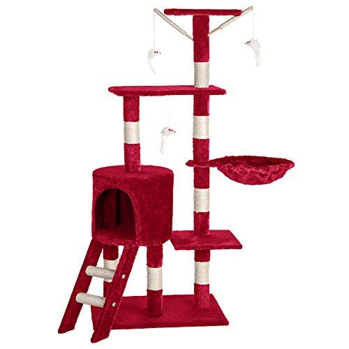 TecTake Tiragraffi per gatti gatto gioco palestra sisal nuovo altezza media rosso vino