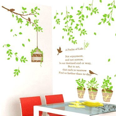 ウォールステッカー 木と鳥かご【ウォールステッカー】