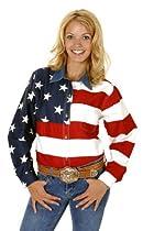 Roper 03-050-0185-0101 Re Ladies Americana Long Sleeve Shirt Red 2X
