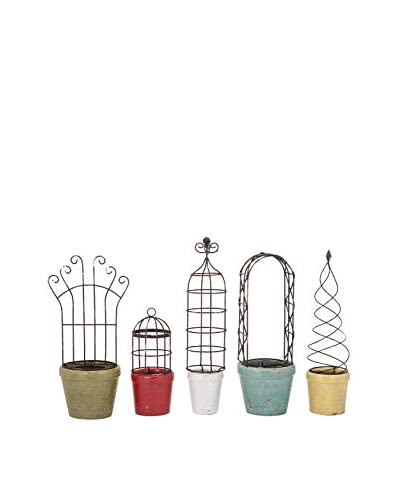Set of 5 Covington Planters With Iron Trellis, Multi