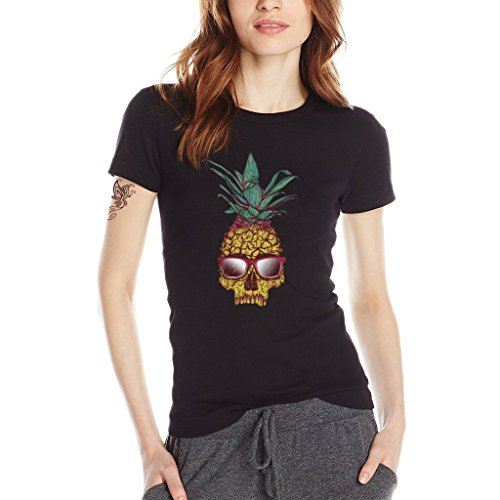 YISUMEI Women's T-Shirt Short Sleeve Tee Pineapple Skull Glasses Black Small